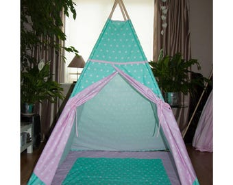 Pink and turquoise stars kids teepee tent / play tent for kids / wigwam for children