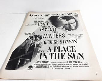 """1951 Vintage Ad for Movie """"A Place in the Sun"""" / Classic Ads Life Magazine 4 Film Starring Elizabeth Taylor Montgomery Cliff Shelly Winters"""