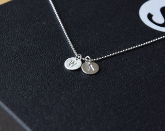 Customization - Initial Letter Disc Necklace - Silver Necklace - Sterling Silver - Handmade - Good Gift For Birthday / Any Occasion