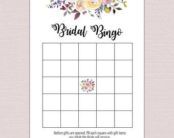 BRIDAL BINGO, Bridal Bingo cards, bridal shower games printable, Bachelorette Bingo, boho watercolor floral Wedding Shower modern pdf BL2