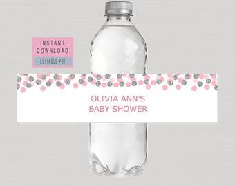 PINK Water BOTTLE LABELS, Editable Blush Pink & Silver Water Bottle Labels, Pink Silver Polka Dots Baby shower, bridal Shower, birthday B16