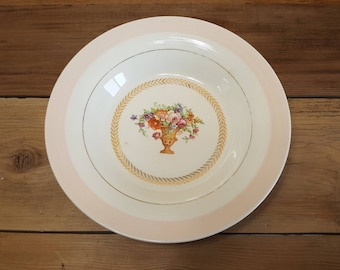 Beautiful Vintage Triumph American Limoges Sebring Ohio Warranted 22 K Gold Treasure Island T Dinner Soup Bowl Shabby Chic Floral Cottage