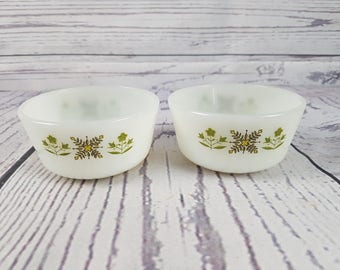 Vintage Set of 2 Fire King Ramekin Bowls Small Oven Proof Green Meadow Ovenware Anchor Hocking 434 6 Ounce Bowls Modern Mid Century Bakeware