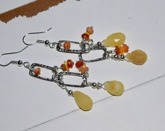 Yellow Opals and Mexican Fire Opal Earrings~ Summer Earrings~ Energy Jewelry~ OOAK Handmade~ Gift Ideas