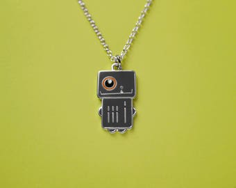 Robot Necklace, Robot Jewelry, Charm Necklace, Robot Charm, Enamel Pendant, Gray Robot Charm, Silver Necklace, Geeky, Girls and Boys Gift