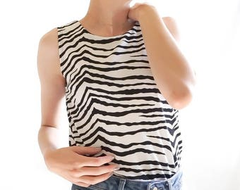 80s Zebra Striped Tank Top / Vintage Zebra Stripes Pattern Tank Top / Vintage Summer Clothing Women's 80s Clothing Tank  / Vintage Clothing