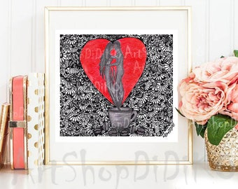 Coffee couple, Digital Prints, Valentines Digital Prints, Printable prints, digital download, Love Decor, Digital print, instant download