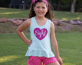 8th Birthday shirt, eighth birthday tee for girls, glitter heart eight year old sleeveless birthday shirt.