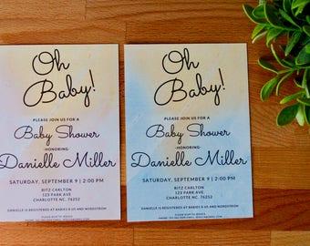 Baby Shower Invitation, Girl Baby Shower, Boy Baby Shower, Oh Baby, Digital or Printed, 5 X 7