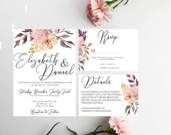 PRINTED Floral Calligraphy Wedding Invitations, Spring Wedding, Summer Wedding, Fall Wedding, Burgandy Wedding invitations, Floral