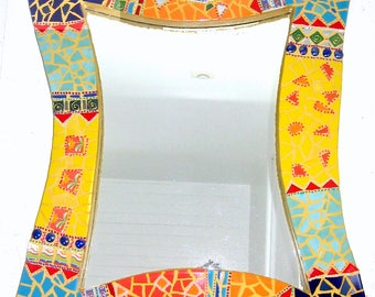 Mirror mosaic corrugated and colorful 73x59cm
