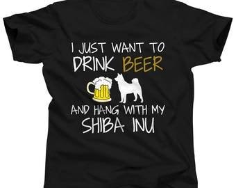 Shiba Inu Dog Beer Tshirt - Dog Dad T-Shirt - Shiba Inu T Shirt - Dog Gear - Shiba Inu Shirt - Beer Drinker Gift - Beer Apparel