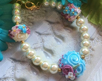 Blue, Pink and Cream Flower/Floral Bracelet, Lampwork Jewelry, SRA Lampwork Bead Bracelet,SRA Lampwork Jewelry, Gift For Her