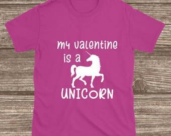 Toddler Valentines Day Shirt - My Valentine is a Unicorn - Youth Valentines Shirts - Toddler Shirts - Toddler Girl Valentines - Unicorn Tee