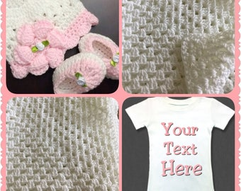 Crocheted Girl Blanket,  Flower Cap, Booties and Onesie Set.  Perfect Baby Shower Gift or Coming Home Outfit...Super Adorable