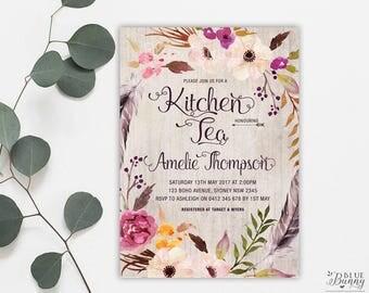 Floral Kitchen Tea Invitation. Rustic Bridal Shower Invitation. Boho Tea Party Invite. Wedding Shower Invitation. FLO2
