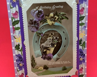 Vintage Cats birthday greetings postcard upcycled - handmade folding blank, purple birthday greetings card