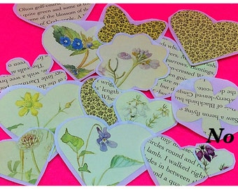 Handmade stickers genuine vintage book pages upcycled crafts floral pretty flowers hearts journalling collage scrapbooking