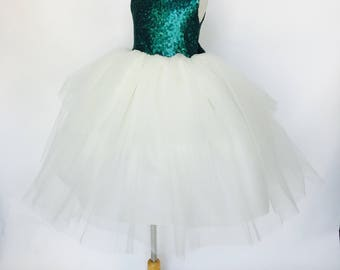 Mat Teal Sequence Keyhole Puffy Layered Ivory Tulle Big Bow Wedding Flower Girl Rustic Princess Toddler Newborn Birthday Ceremony Sparkly