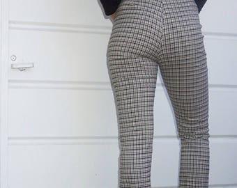 """90's Plaid Flared Wide Leg Pants / 27"""" / 28"""""""