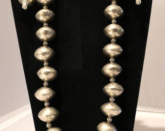 Silver Bead Necklace and Matching Earrings