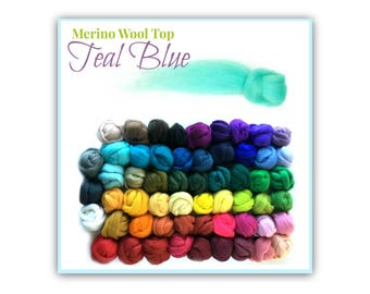 Spinning Wool Roving, 1 oz Teal Blue Merino Wool Top, Light Blue Sliver For Wet Felting, Turquoise Nuno Felting Matierials, Shades of Blue