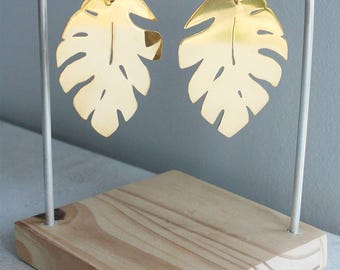 Monstera - gold platted earrings