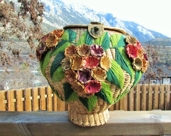 weaved grass and wool storage basket