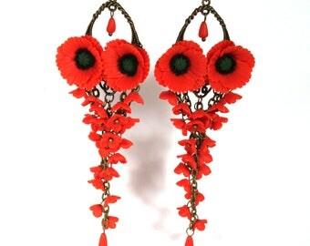 Red Flower earrings, Red Poppy earrings, Poppy Jewelry, Red earrings,Floral Jewelry,Woman gift, Polymer clay earrings, Poppies