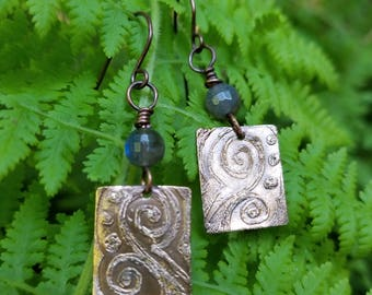 Handmade etched bronze earrings