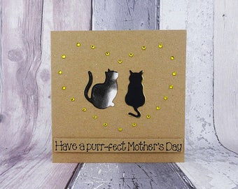 Two cat Mother's Day card, Personalised card for Mum / Mom, Mothering Sunday card, Black cat, Black and white cat, Ginger cat, Tabby cat