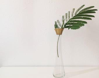 Vintage Gold Rimmed Glass Bud Vase + Dorothy Thorpe Style Mid Century + Single Stem + Flower Vase