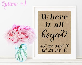 Where It All Began / Coordinates Sign / Wedding Gifts For Couples / Engagement Gifts For Couples / Couples Gift / Rustic Home Decor / Decor