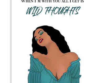 WILD THOUGHTS - Funny Card, Valentines Day Card, Card for Him, Card for Her