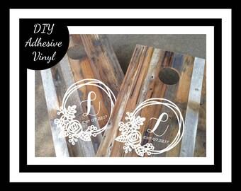 DIY Wedding Decal Set (2), Monogram Cornhole Decals, Two Cornhole Board Game Decals - Wedding DIY Decals - Wedding Decor Decals Vinyl