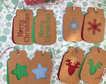 Mason Jar Tags, Mason Jar Christmas Tags, Mason Jar Gift Tags