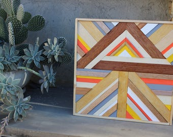 WOOD WALL ART, Mosaic 40x40 Home Decor