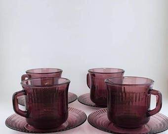 Vintage Fortecrisa Amethyst Coffee Cup And Saucer Set Of 4