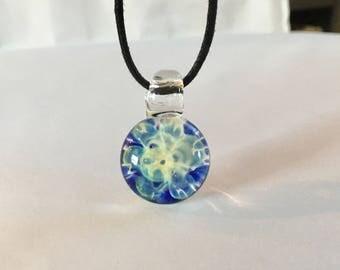 Handblown Glass Pendant, Glass Jewelry, Energy Pendant, Fume Chaos, Hippie Jewelry, Hippie Necklace,  Glass Yoga Jewelry, Chakra Jewelry