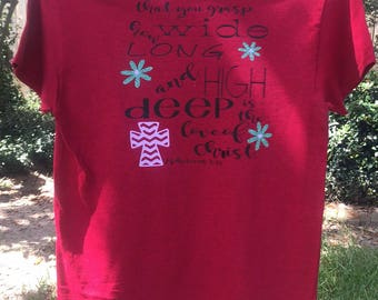 Red Scripture t-shirt Ephesians 3:18