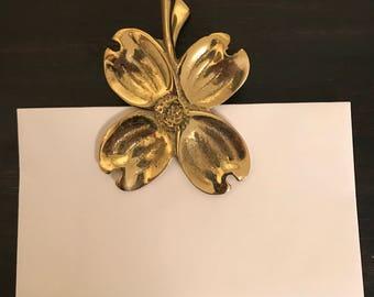 Brass Mail Clip, Vintage Brass Mail Clip, Dogwood Mail Clip, Dogwood Letter Clip, Letter Clip, Vintage Brass, Office Decor, Dogwood Flower