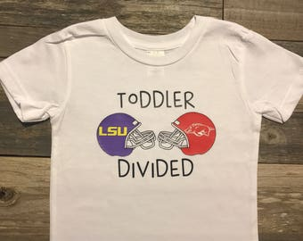 Toddler divided, baby divided, house divided football shirt