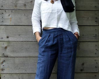 Navy Blue Wide Linen Pants, Handmade Trousers, Natural Fabric,Sustainable fashion, Ethical closet, Slow fashion