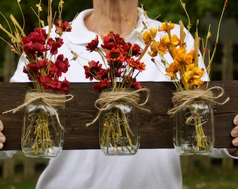 Rustic Fall Decor, Mason Jar Decor, Fall Decor, Mason Jar Wall Hanger, Mason Jar with Flowers