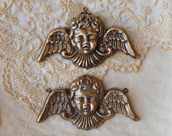 Victorian Style Winged Cherub Putti Angel Pendant Made in USA