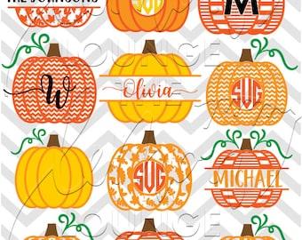 Pumpkin Monogram svg, 12 + 3 monogram svg, pumpkin svg, fall svg, halloween svg, monogram cut file, digital cut file, commercial use OK