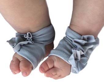 Gray Baby Socks - Baby Barefoot Sandals - Gray Baby Sandals  - Infant Sandals- Newborn Shoes - Infant Socks - Baby Girl Barefoot Shoes