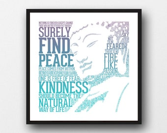 Find Peace - Buddha Typography Art Print