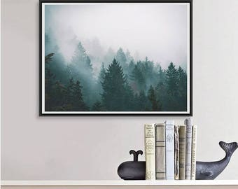 Forest Photography, Trees in Fog Nature Art Print, Landscape Photo, Large Wall Art Tree Print, Moody Art, Minimalist Art Teal Decor