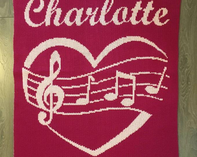Musical Heart Custom Knit Baby & Stroller Blanket